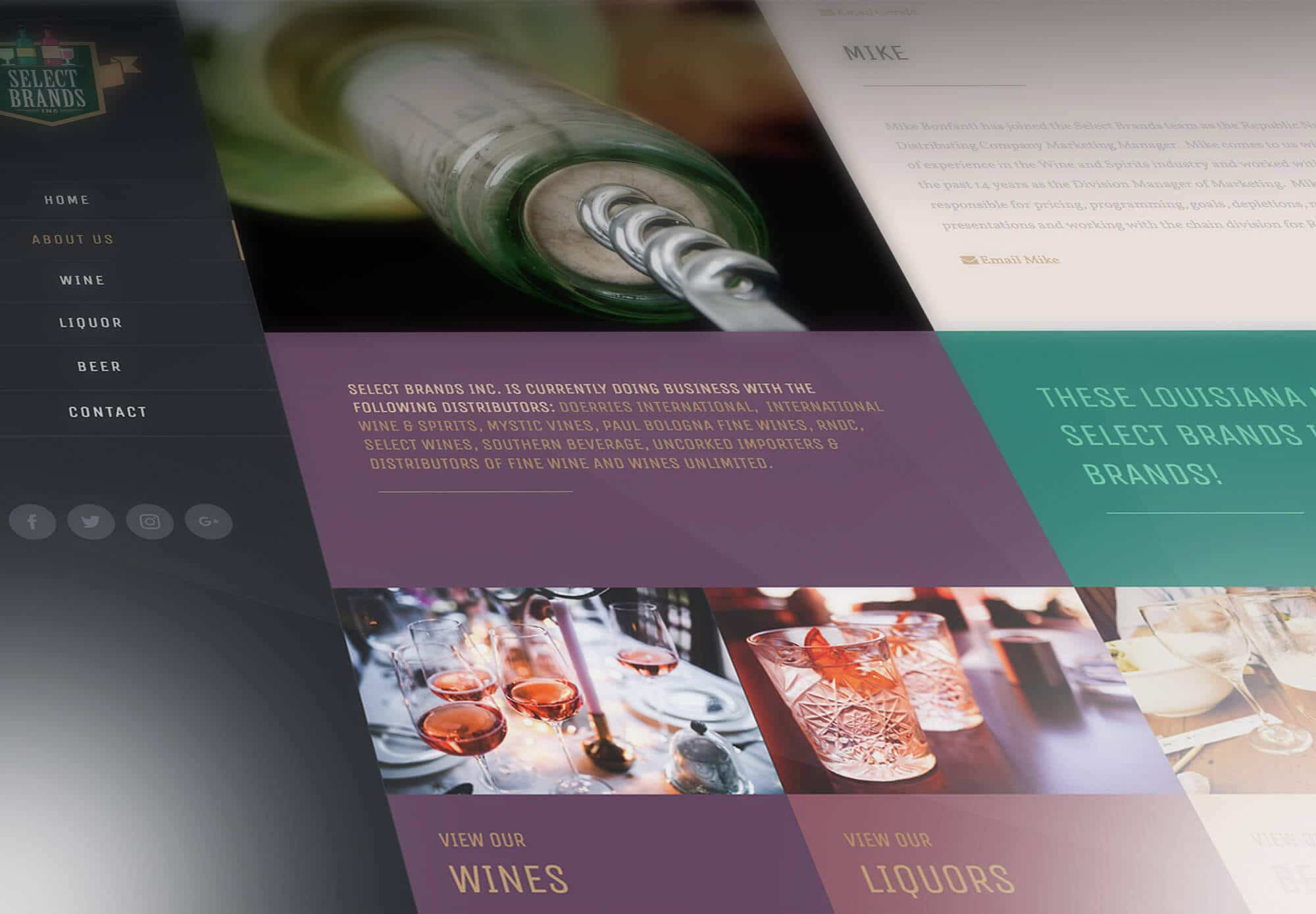 Website Design Services for Select Brands, Inc. about us page