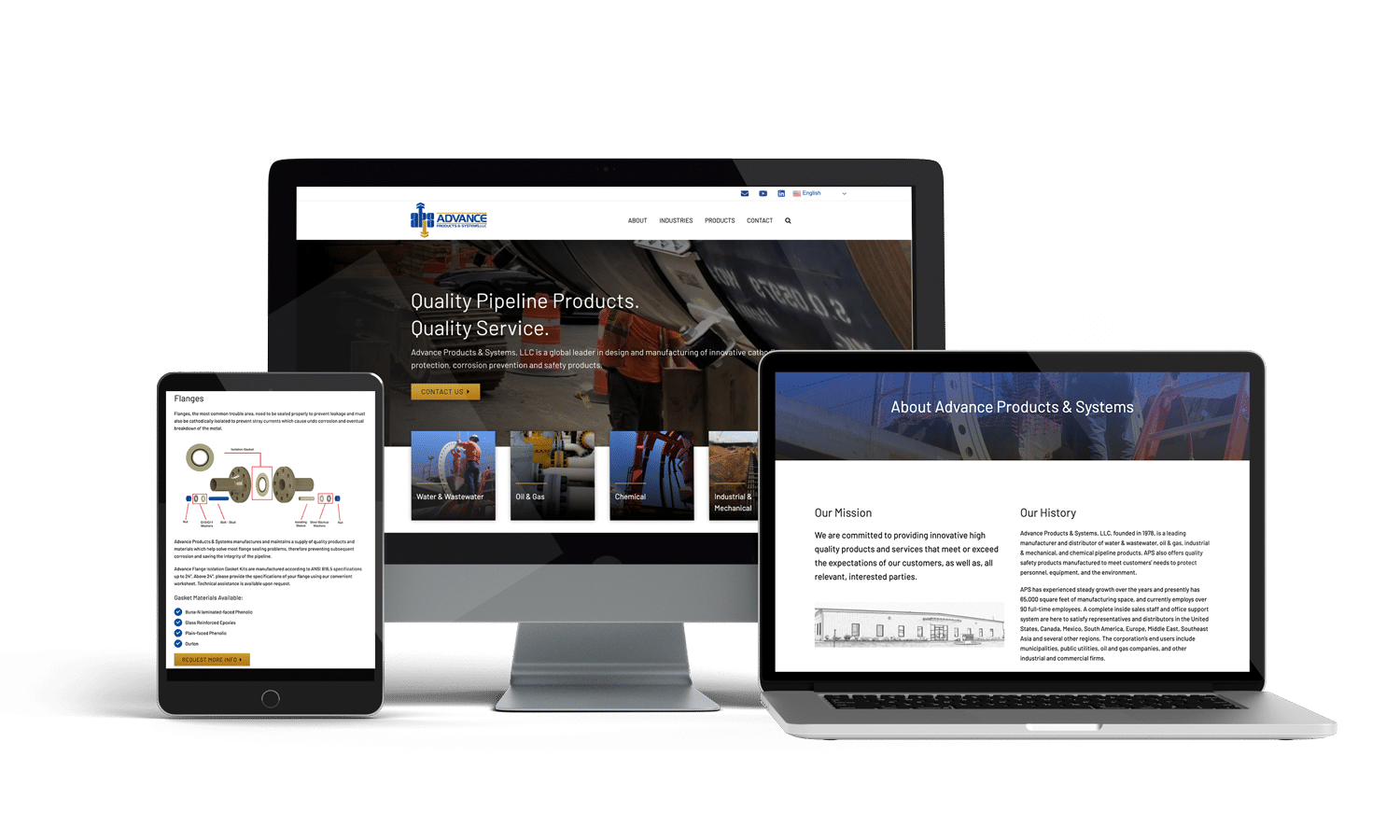 Advance Products Systems Responsive Mockup