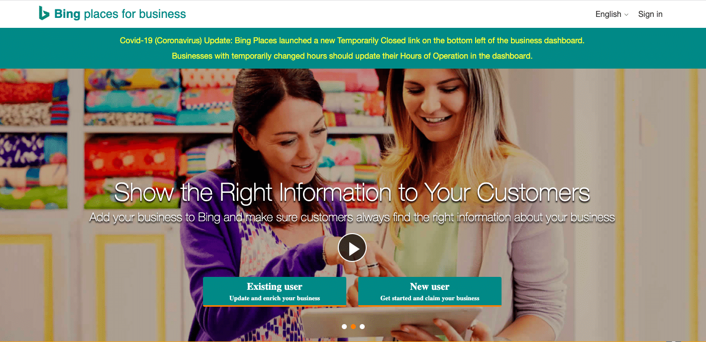 Bing places for business home screen