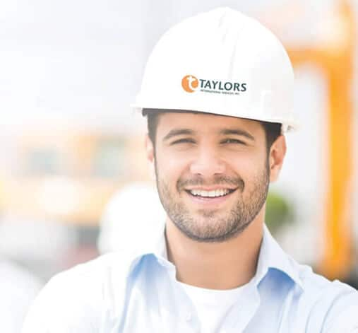 Taylors International Services guy in hard hat