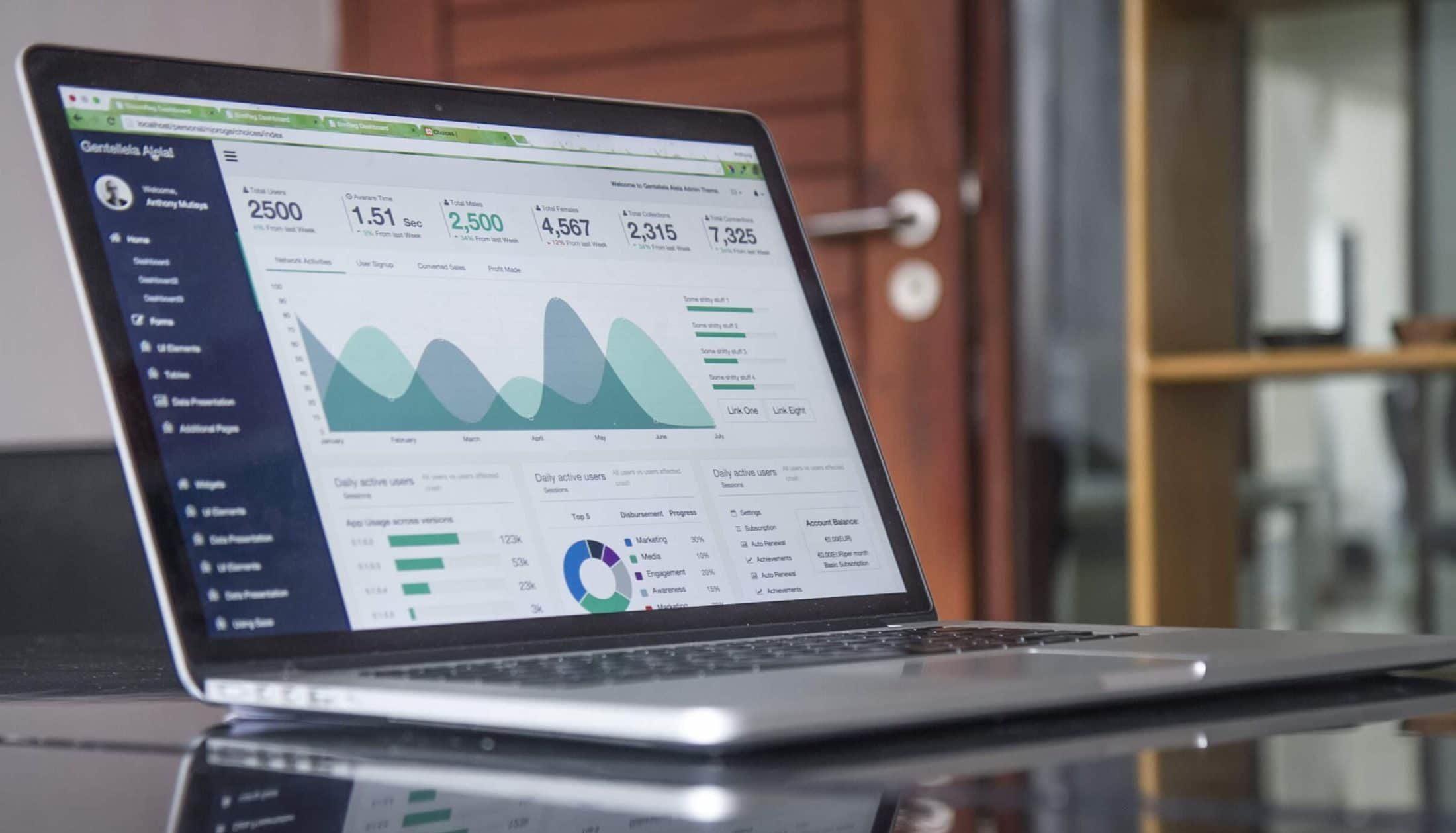 computer screen with metrics