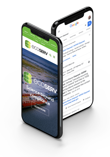 Ecoserv Google Paid Ads and Website Mockup on phone
