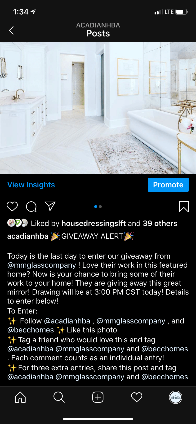 Social Media case study giveaway screenshot to show off different ways of engagement
